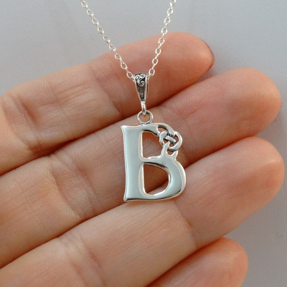 letter a initial necklace celtic initial letter b necklace 925 sterling silver 17416 | s l1000