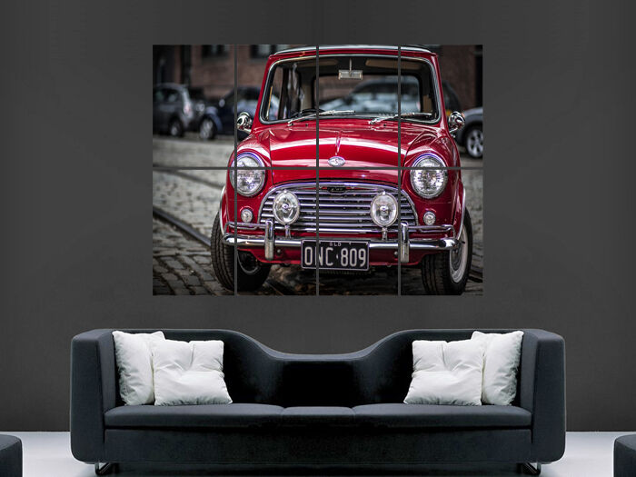MINI COOPER CLASSIC CAR RED ART WALL LARGE IMAGE GIANT