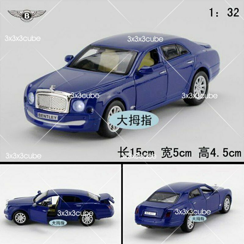 1:32 Blue Bentley Mulsanne Diecast Model Car Pullback