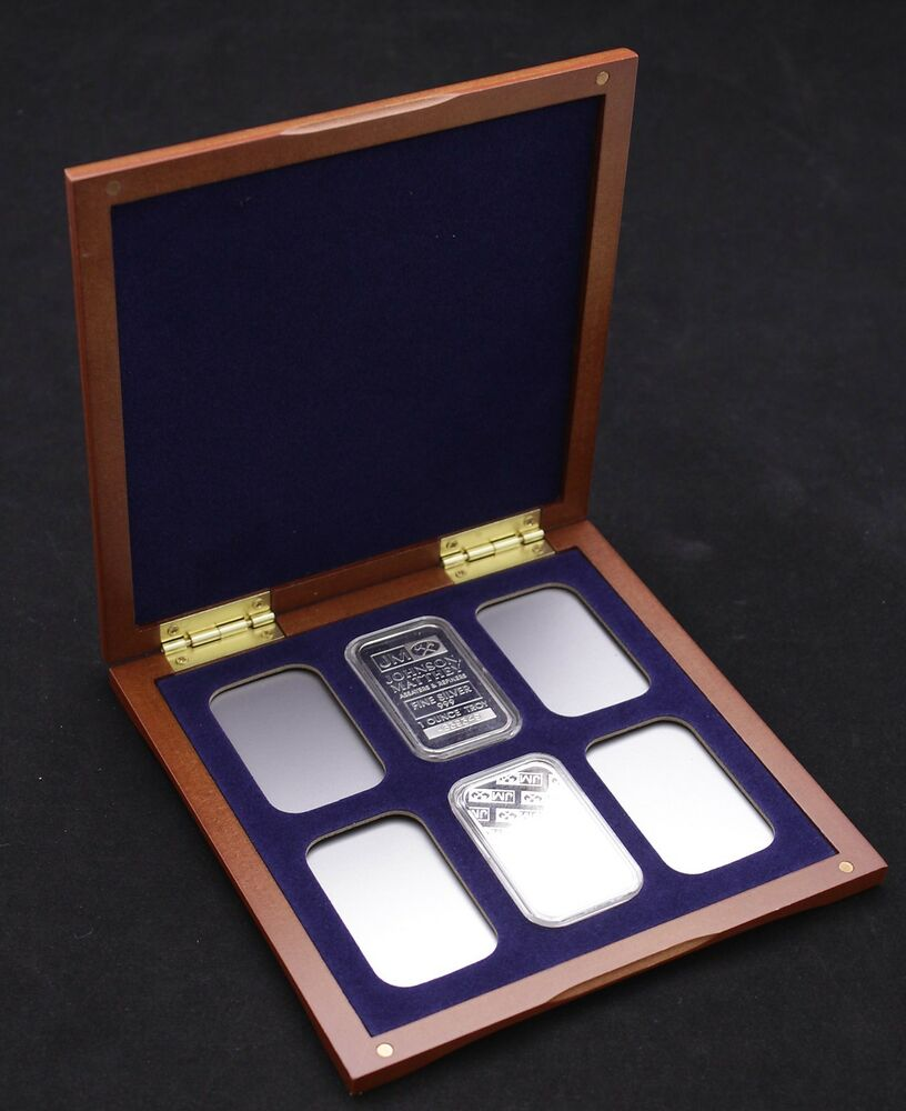 Cherry Wood Display Case For 6 1oz Silver Bars In Airtite
