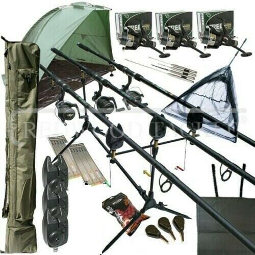 Full Carp fishing Set Up With Rods Reels Alarms Net ...