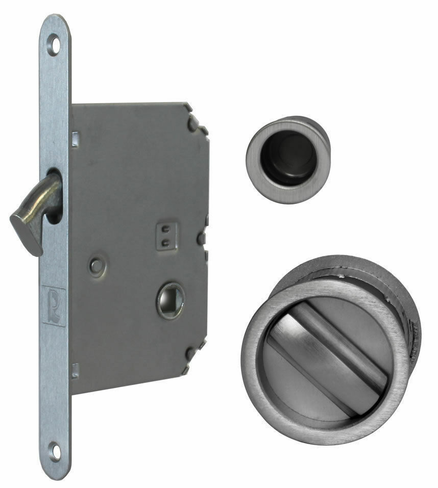 Jv825 Sliding Pocket Door Bathroom Lock Set C W 2 Flush Pulls End Finger Pull Ebay