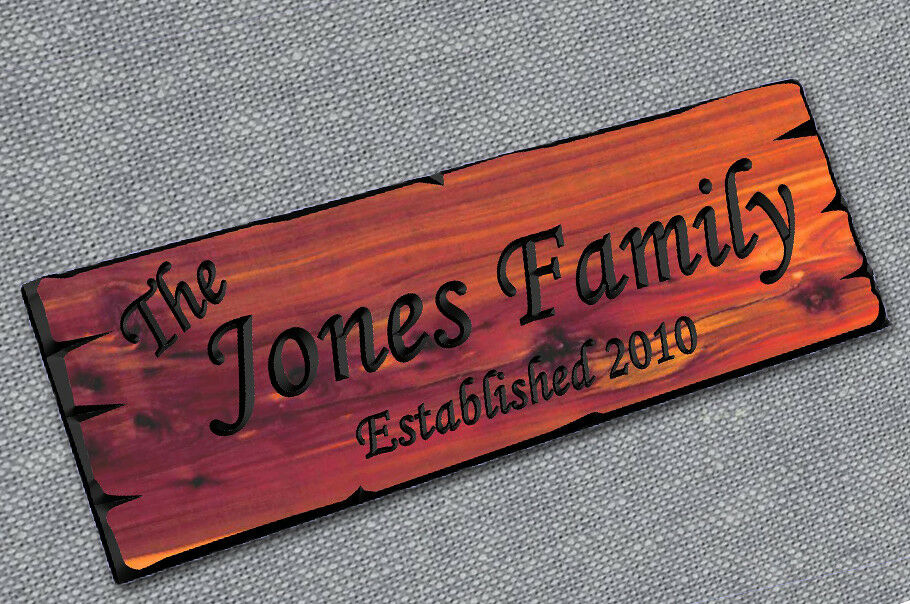 Personalized custom carved cedar wood sign last name rustic plaque home decor ebay - Custom signs for home decor concept ...