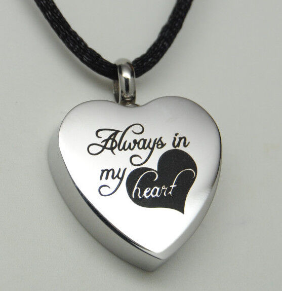 Always In My Heart Cremation Jewelry Silver Heart Urn