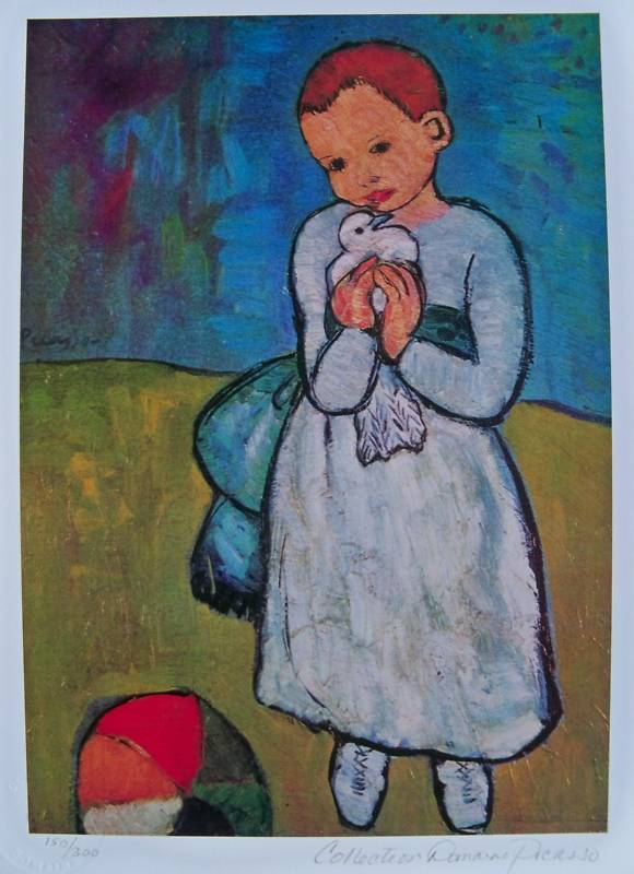Pablo Picasso CHILD WITH DOVE Estate Signed Small Giclee ...