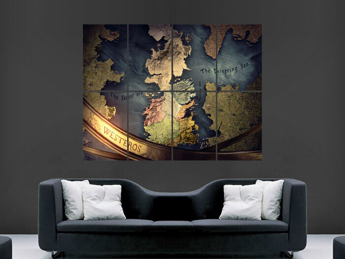 game of thrones poster map tv series image huge large wall art picture ebay. Black Bedroom Furniture Sets. Home Design Ideas