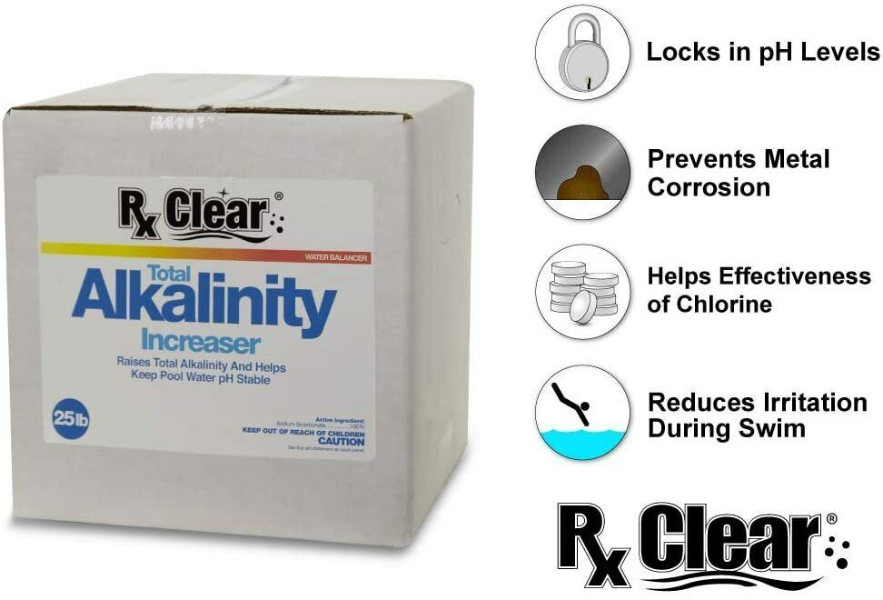 Rx Clear Swimming Pool Alkalinity Up Increaser Plus Sodium Bicarbonate 25 Lbs Ebay