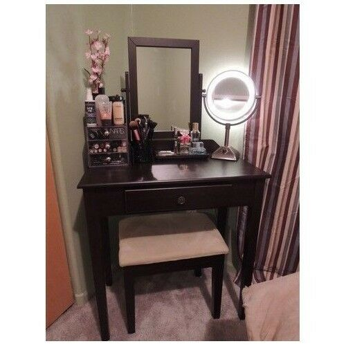 Vanity table set mirror stool bedroom furniture dressing for Black makeup table with mirror