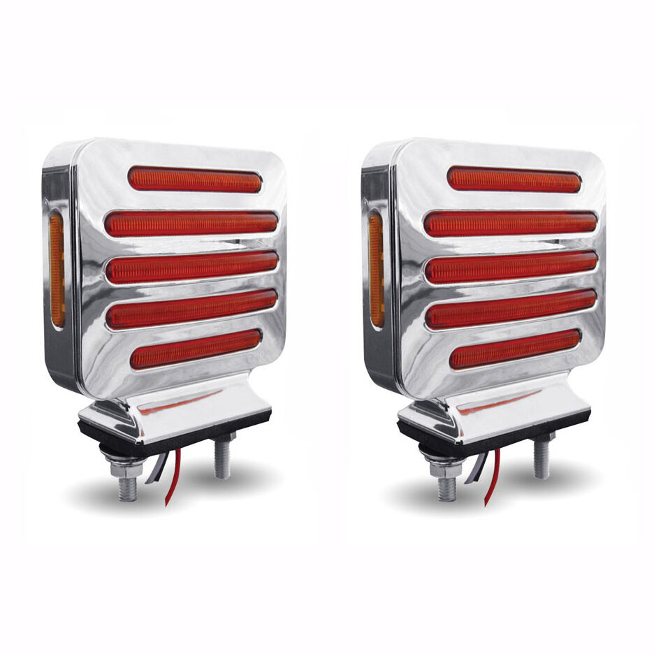 flatline double face square led lights amber red pair. Black Bedroom Furniture Sets. Home Design Ideas