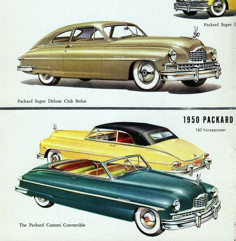 Old Print. 1950 Packard Super Deluxe Club Sedan & Custom