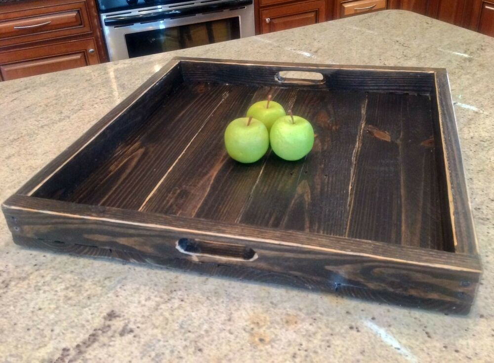 Extra large ottoman tray reclaimed wood square ebay