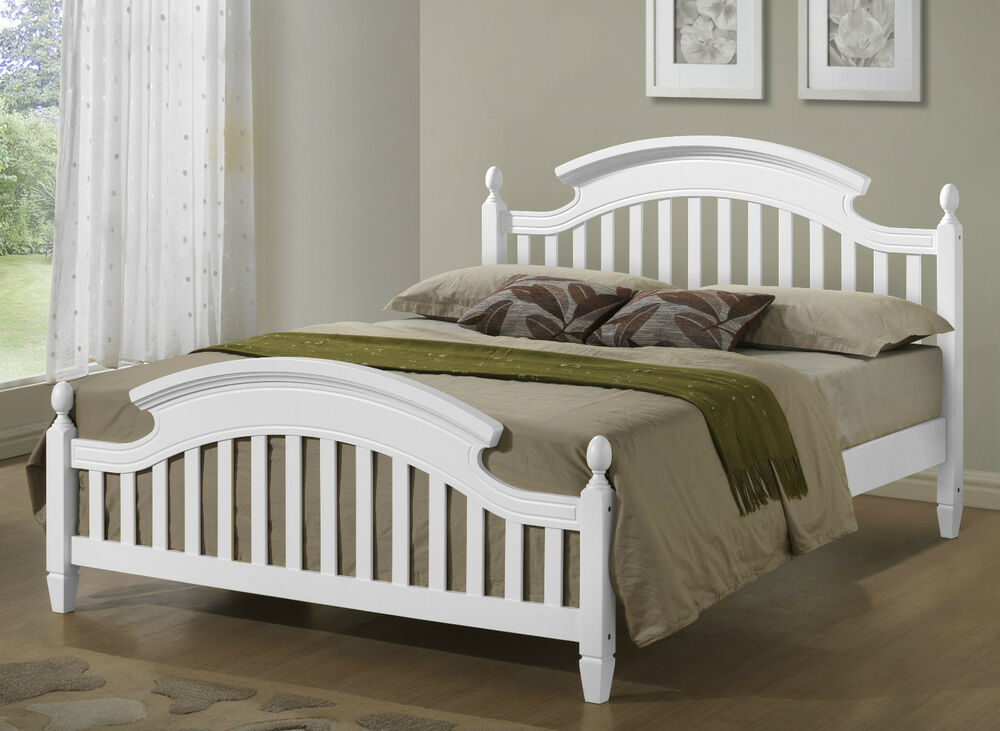 white wooden arched headboard bed frame in 3ft single 4ft6 double 5ft king ebay. Black Bedroom Furniture Sets. Home Design Ideas