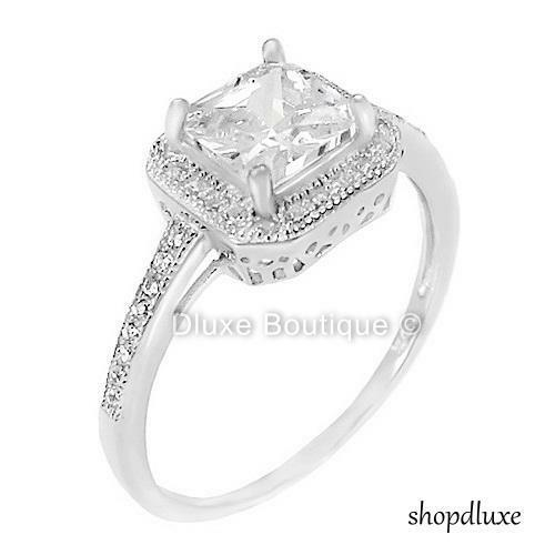 halo wedding ring sets 1 50 ct halo princess cut cz sterling silver engagement 4682