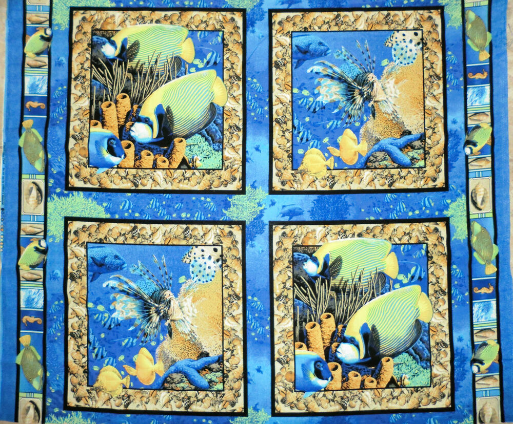 Coral seas fabric panel 4 pillow panel fish fabric quilt for Fish fabric for quilting