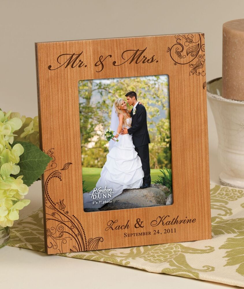 Wedding Photo Frames: Personalized Laser Engraved Cherry Photo Frame, For 5x7