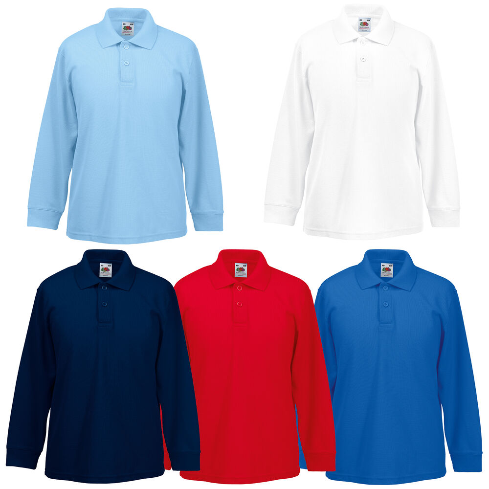 Fruit of the loom kids boys girls childrens school long for Long sleeved polo shirts for boys