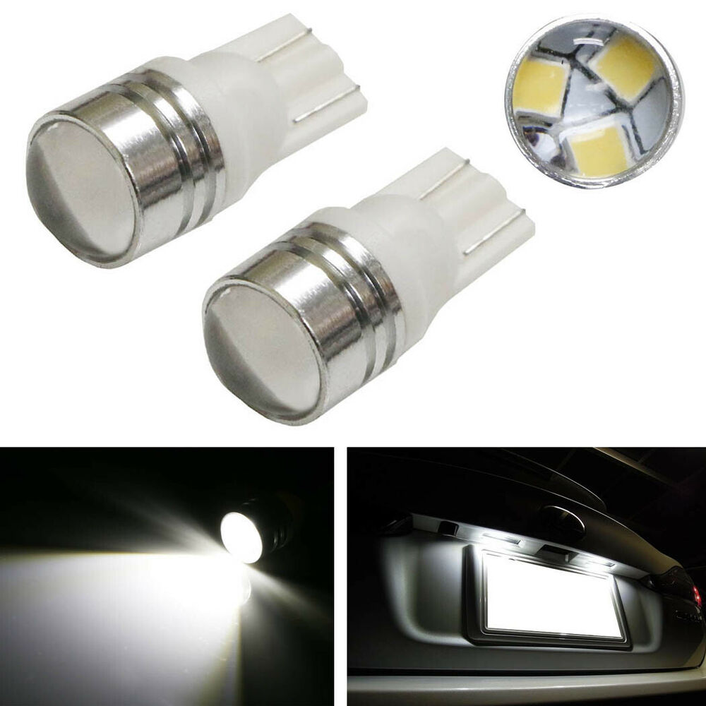 2 Xenon White SMD Projector 168 194 2825 LED Bulbs For Car