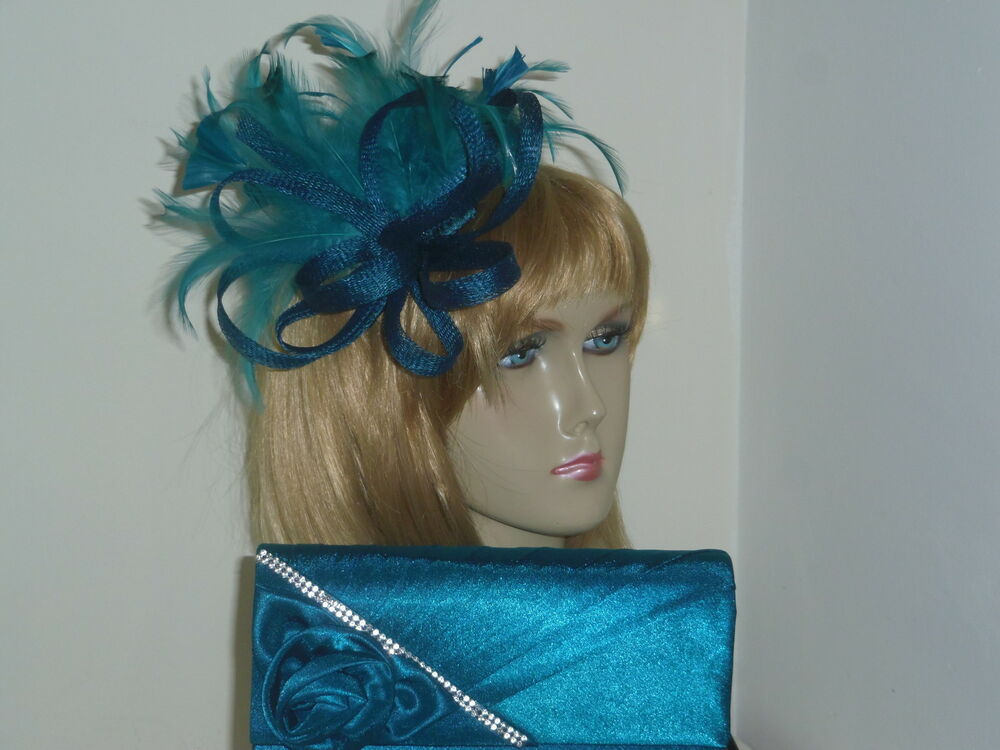 Mother Of The Bride Hats For Short Hair: Teal Green Sinamay Fascinator Hair Accessory & Bag Wedding
