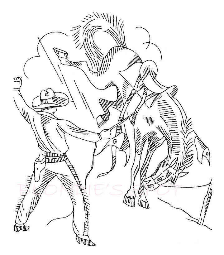 Cowboys and indians vintage coloring pages