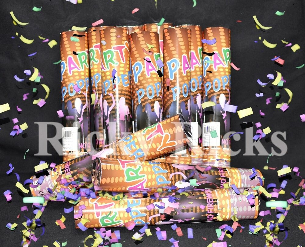 12 Party Poppers Confetti Wedding Shooter Cannon Streamer ...