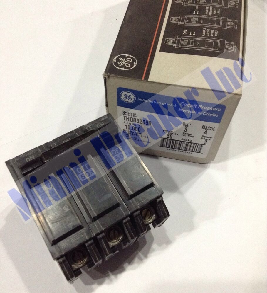 Ge General Electric Thqb32050 New Circuit Breaker 3p 50a