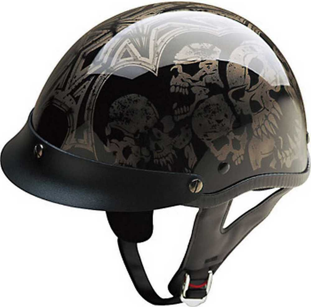 HCI Screaming Skulls Black/Silver, Half Helmet w/ Visor ...
