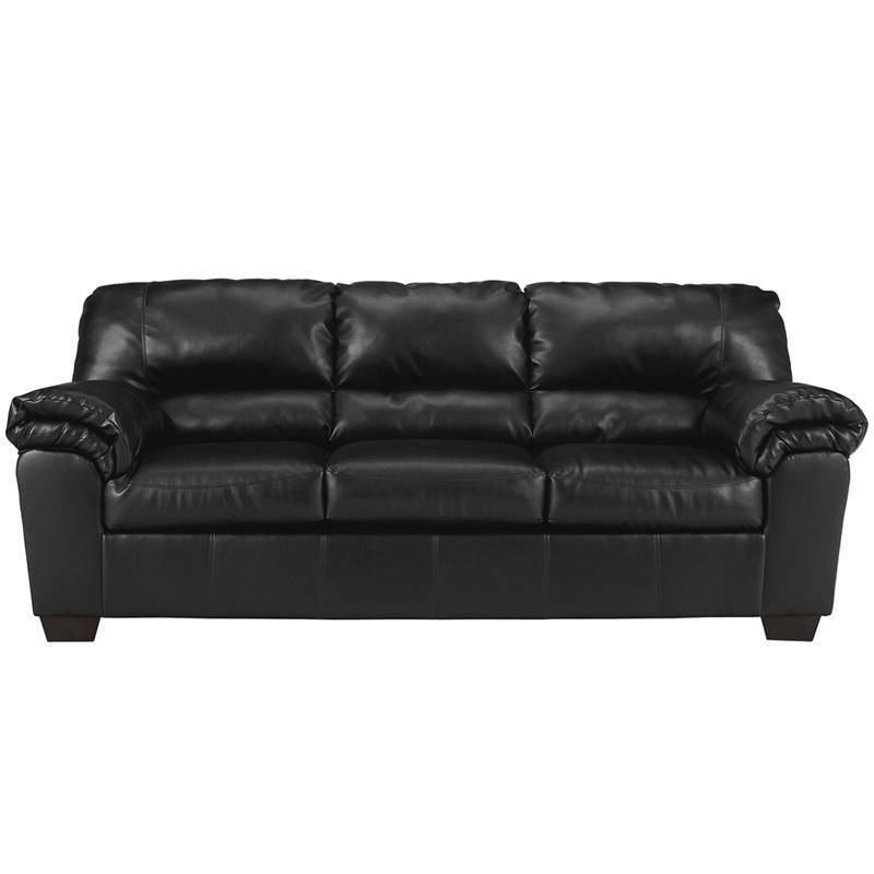 Signature design by ashley commando sofa in black leather for Ashley leather sofa