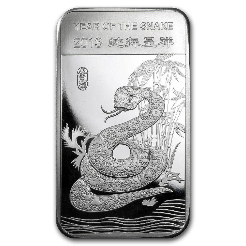 2013 5 Oz Year Of The Snake Silver Bar Sku 71913 Ebay