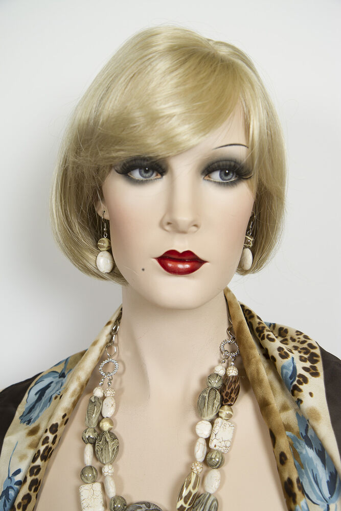 Champagne Blonde Your Light Brown: Champagne Blonde Blonde Short Skin Top Straight Wigs