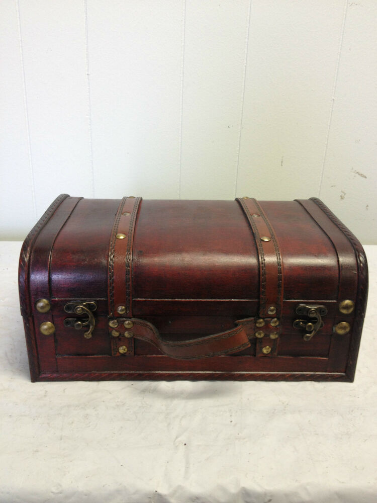 Faux Leather Decorative Wooden Storage Trunk Hf 008c 2