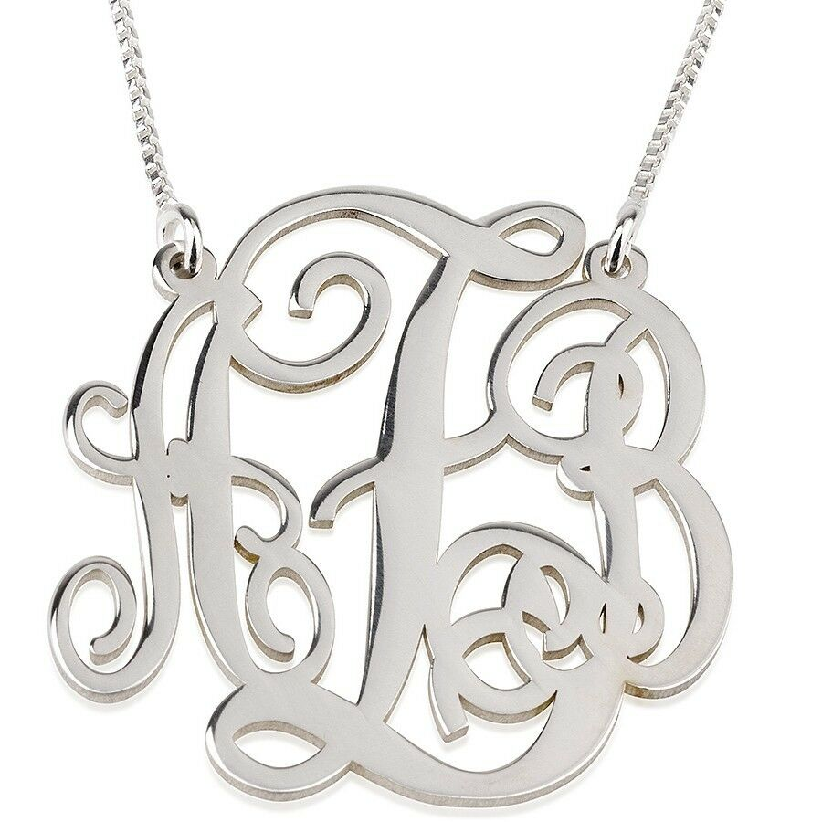 sterling silver 1 5 split large monogram necklace