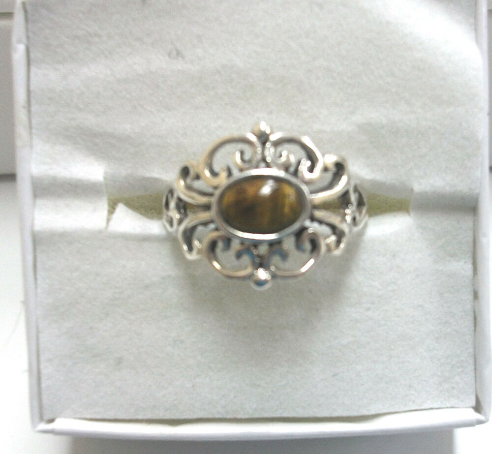 cats eye quartz ring sterling silver 925 cut out design