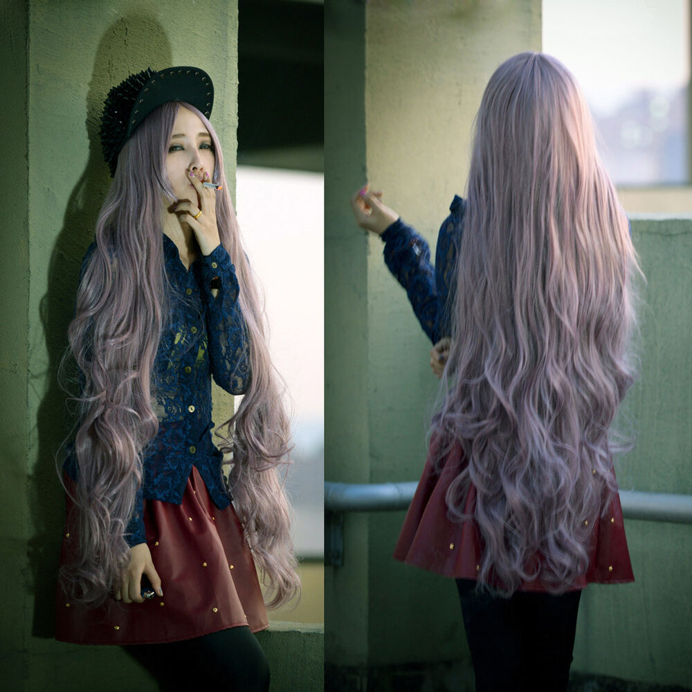 Anime Girl With Long Curly Hair: Wavy Super Long Wigs For Women Cosplay Curly Lavender Hair