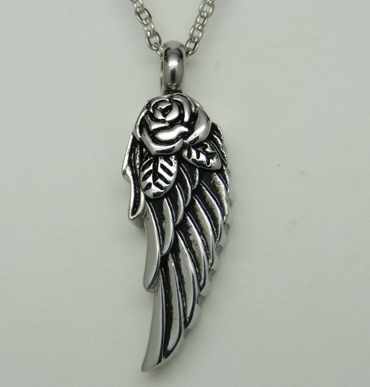 Cremation Jewelry Rose Angel Wing Urn Necklace Angel Urn