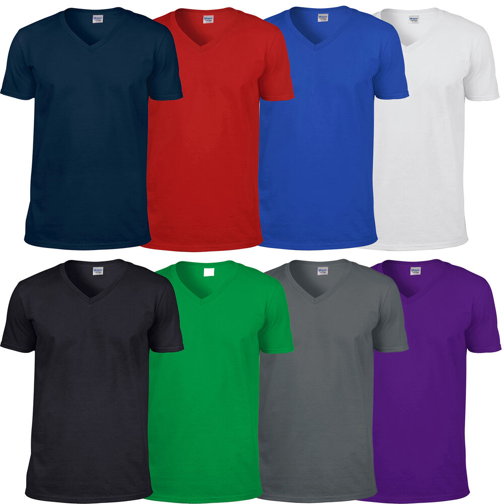 Mens gildan softstyle v neck cotton t shirt top casual for Gildan v neck t shirts for men