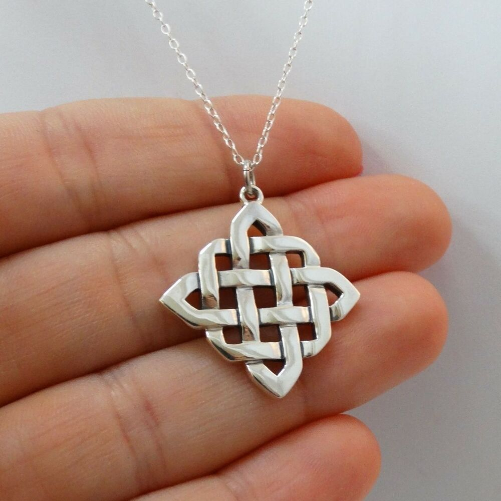 Celtic Knot Necklace 925 Sterling Silver Irish Love