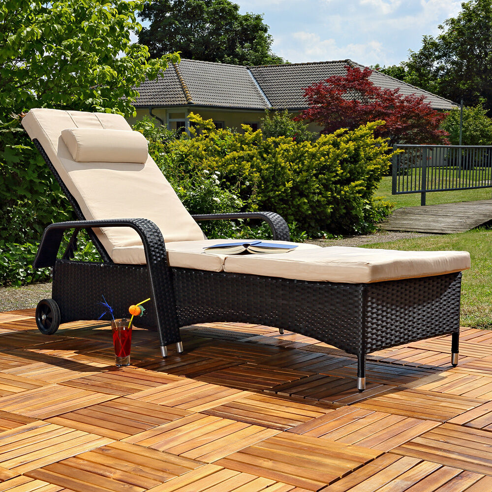 rattan sun lounger adjustable garden furniture sunbed wicker polyrattan black ebay. Black Bedroom Furniture Sets. Home Design Ideas