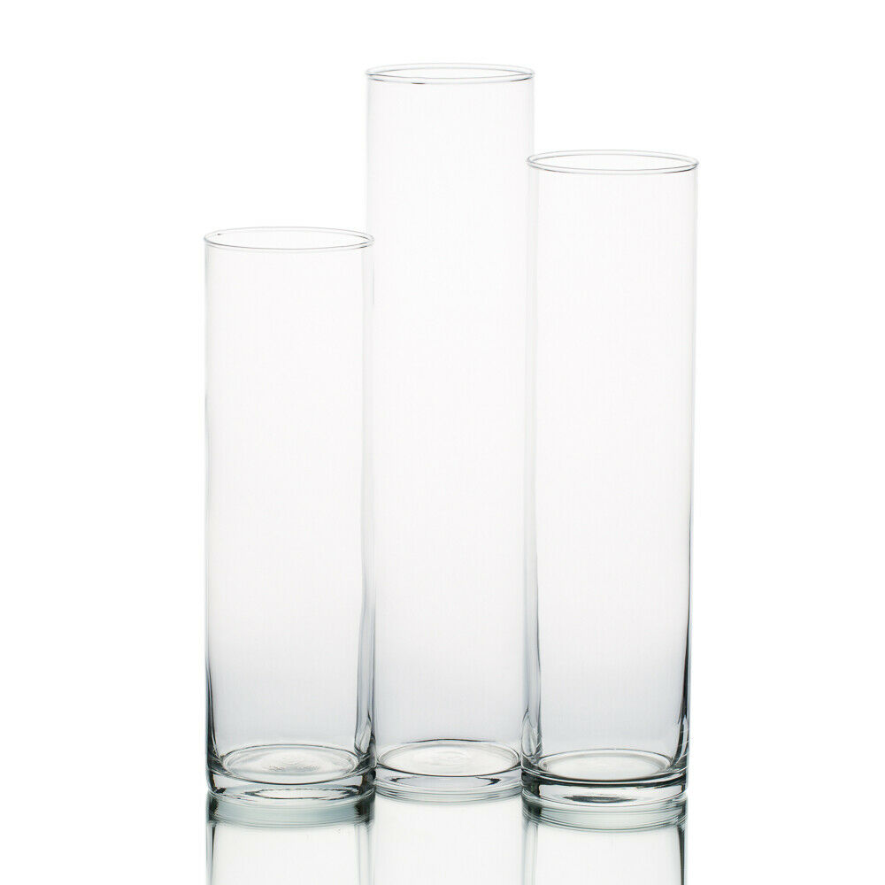eastland tall cylinder glass vases 13 15 17 tall and 4 diameter set of 3 ebay. Black Bedroom Furniture Sets. Home Design Ideas