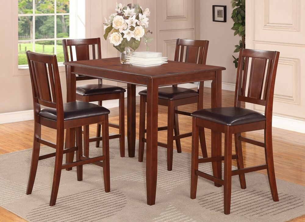 5 pc counter height pub table with 4 faux leather seat chairs in mahogany ebay. Black Bedroom Furniture Sets. Home Design Ideas