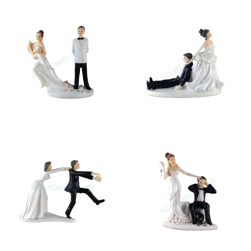 funny polyresin figurine wedding cake toppers bride groom humor marriage favor