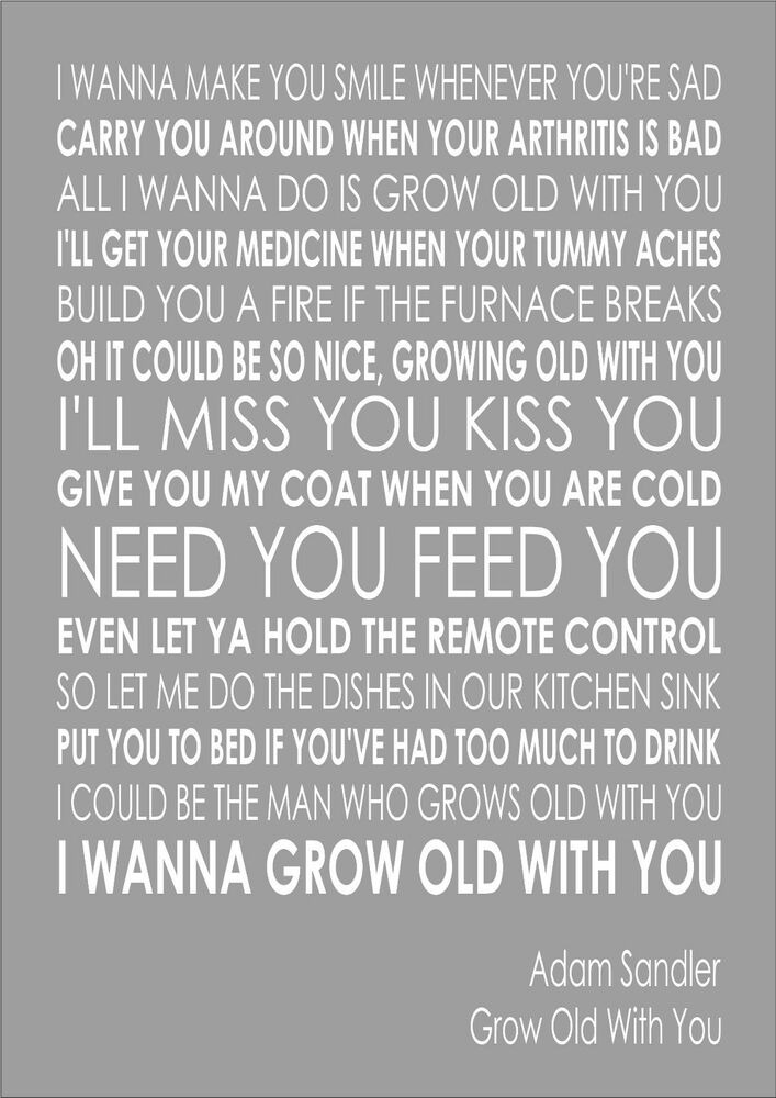 Grow Old With You - Adam Sandler - Word Wall Art ... Lyric Typography Poster