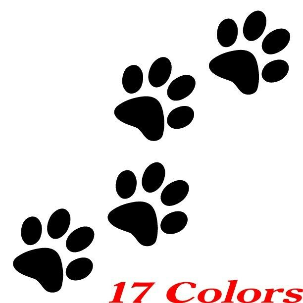 Qty 4 Cat Dog Animal Paw Print Feet Vinyl Car Decal