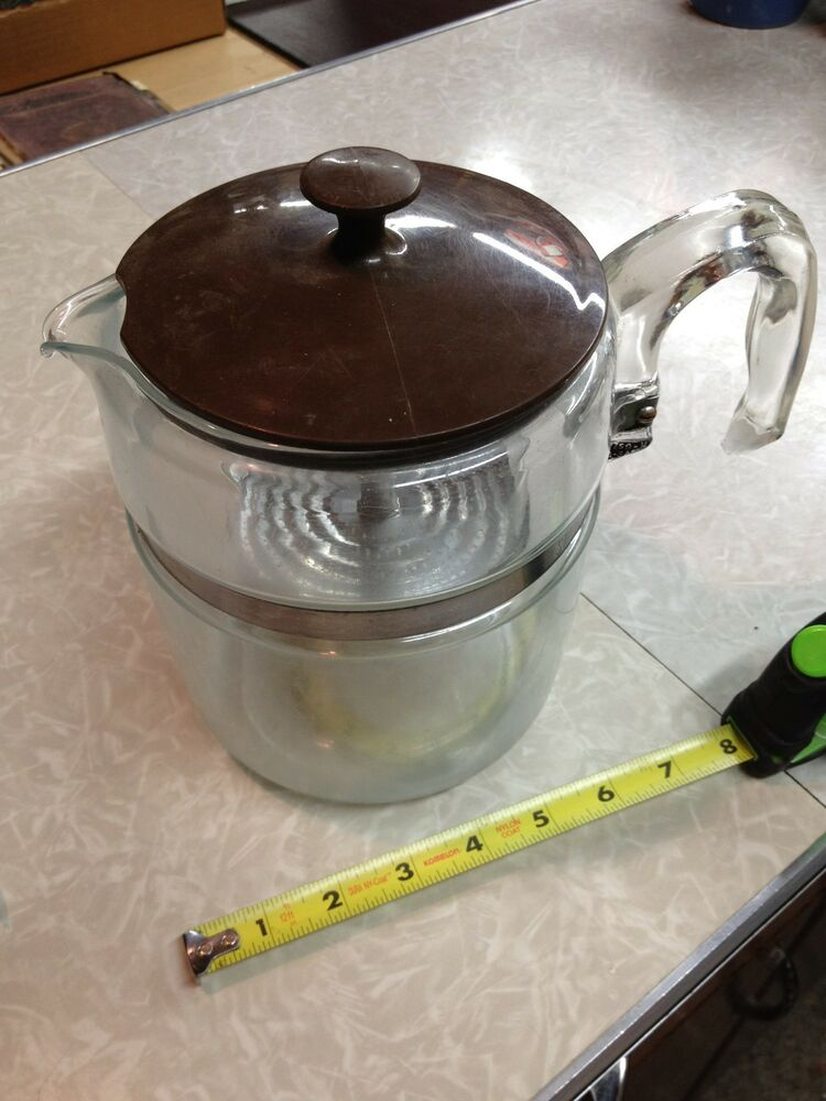 Coffee Maker On Gas Stove : PYREX 7759 FLAMEWARE GLASS 6-9 CUP STOVE TOP COFFEE MAKER POT PERCOLATOR EXC eBay