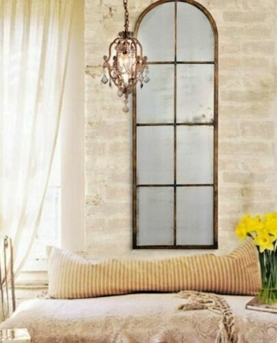 Metal arch wall dressing mirror windowpane tall narrow for Tall slim mirror