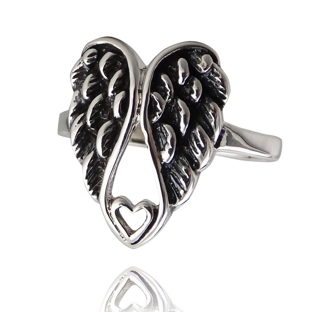 0800b50d7 Details about Angel Wings Ring w/ Tiny Heart, 925 Sterling Silver Love  Memorial Gift 5-10 NEW