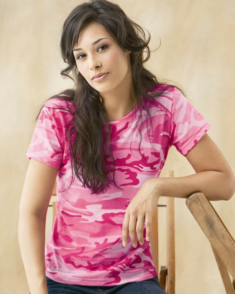 Code V Ladies Pink Camouflage Cotton Camo T Shirt Womens ...