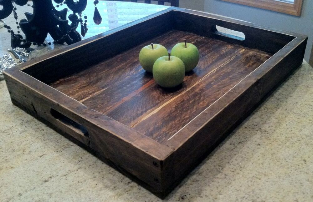 Large Solid Wood Wine Serving Ottoman Tray 22 X 16 Ebay