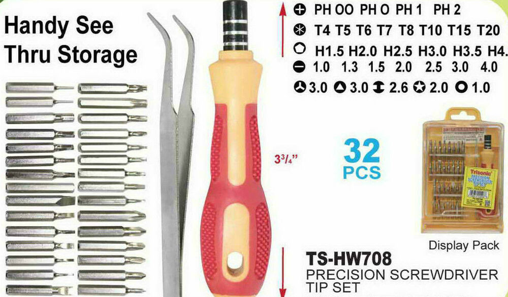 32 in 1 precision magnetic mini screwdriver set repair tool hex trox phillips ebay. Black Bedroom Furniture Sets. Home Design Ideas