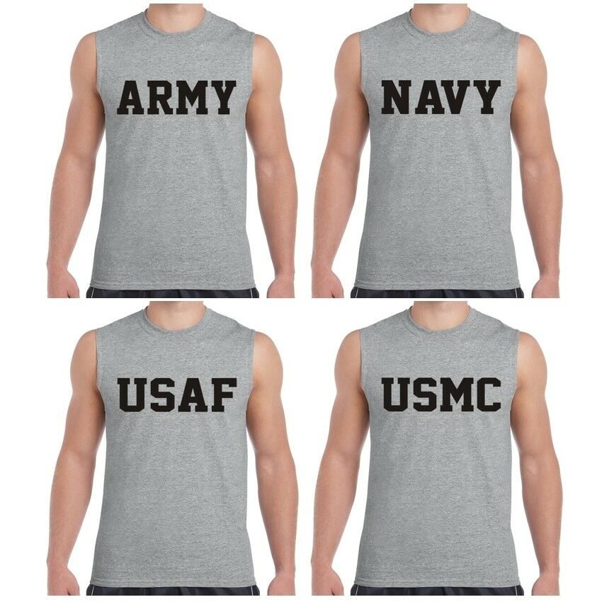 0e96de50 Details about US Army Navy Air Force USAF Marines USMC Military Sleeveless  Tee T shirt