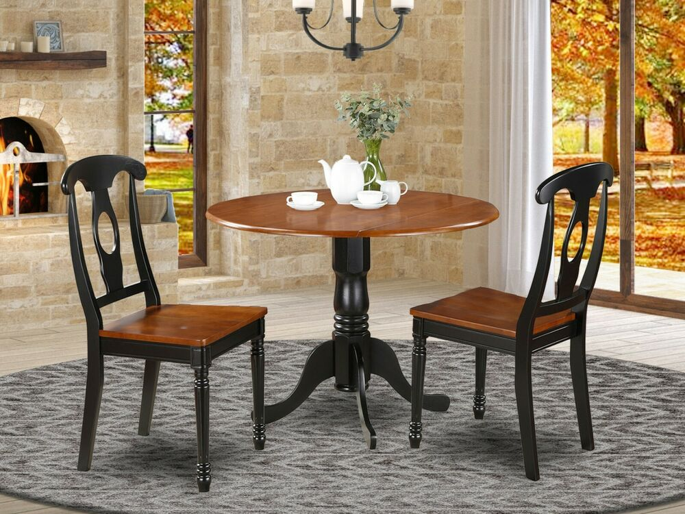 3pc Dinette 42 Round Drop Leaf Pedestal Table 2 Kenley Chairs Cherry Black Ebay